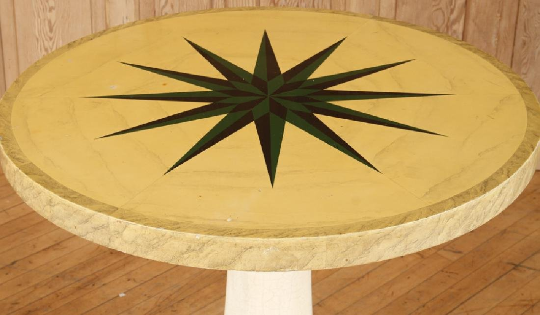 INTERESTING ROUND PAINTED WOOD CENTER TABLE - 2