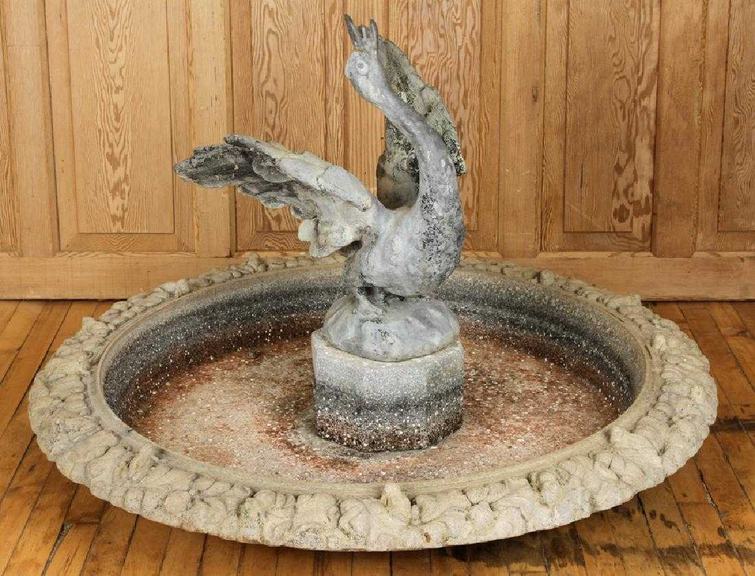 Cast Iron Two Tier Fountain, 20th c., with a lobed