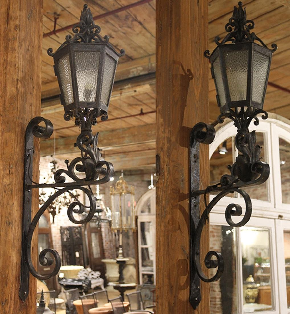 PAIR WROUGHT IRON WALL MOUNTED SCONCES C.1920