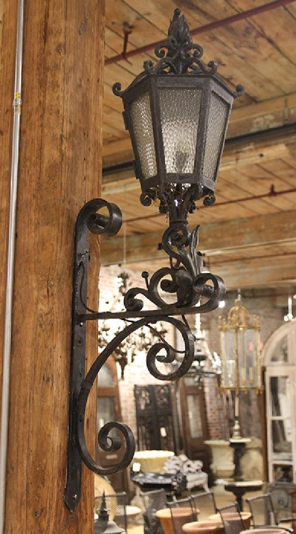 PAIR WROUGHT IRON WALL MOUNTED SCONCES C.1920 - 2