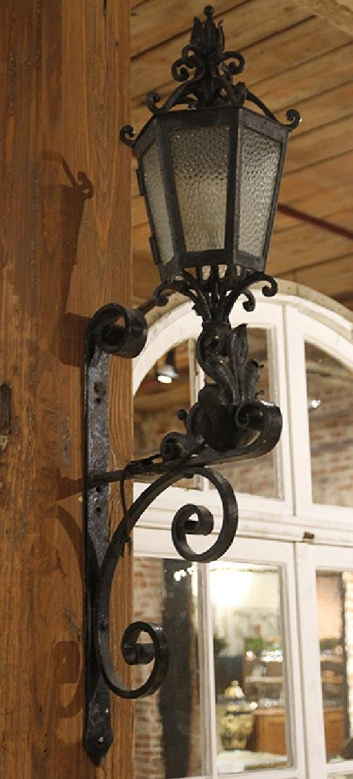 PAIR WROUGHT IRON WALL MOUNTED SCONCES C.1920 - 3