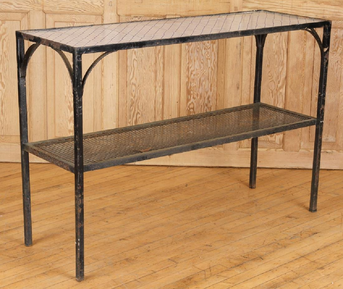 IRON TILE TOP TWO TIER POTTING TABLE