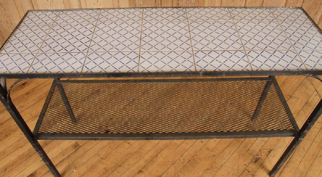IRON TILE TOP TWO TIER POTTING TABLE - 3