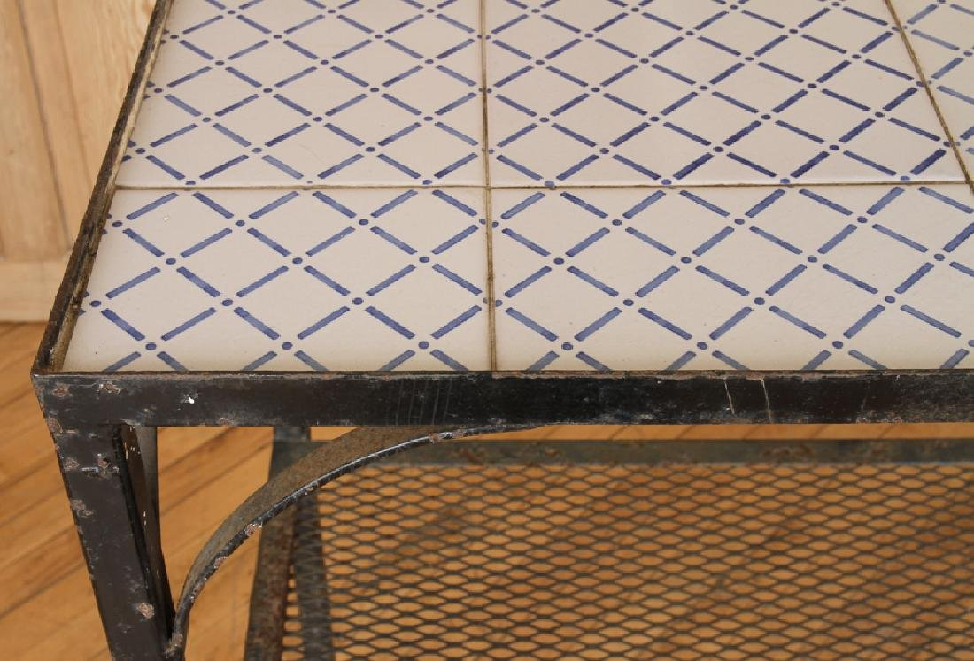 IRON TILE TOP TWO TIER POTTING TABLE - 4
