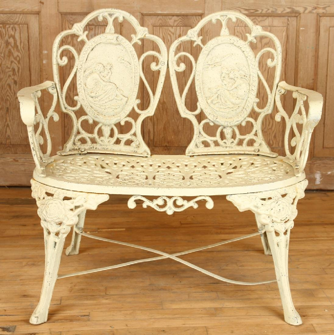 CAST IRON GARDEN BENCH DOUBLE CAMEO BACK