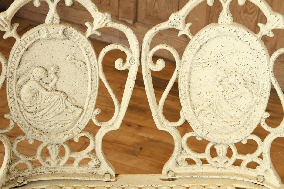 CAST IRON GARDEN BENCH DOUBLE CAMEO BACK - 3