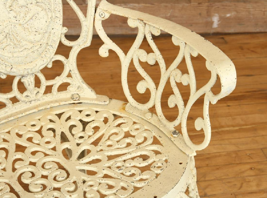 CAST IRON GARDEN BENCH DOUBLE CAMEO BACK - 4