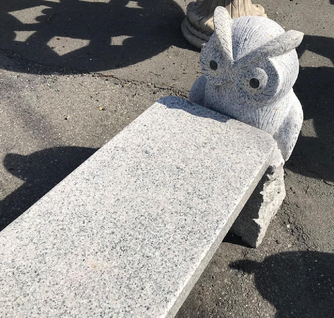 CARVED GRANITE BENCH WITH OWL SUPPORTS - 2