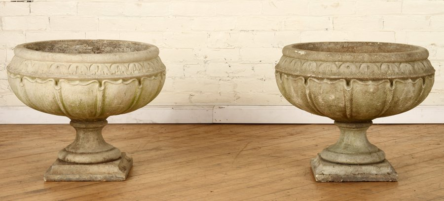 PAIR OF TWO-PIECE CAST STONE PLANTERS