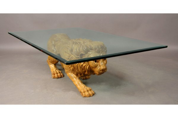 395: Carved wood lion coffee table