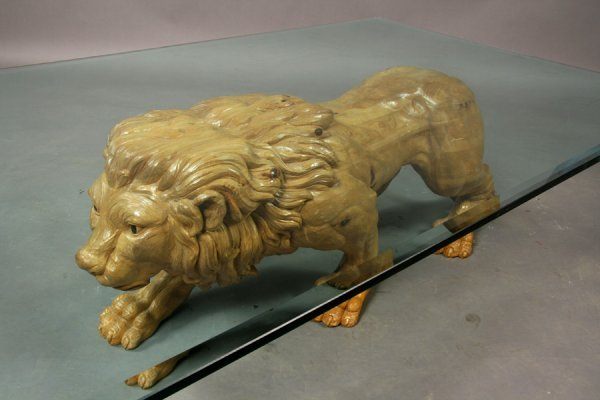 395: Carved wood lion coffee table - 2