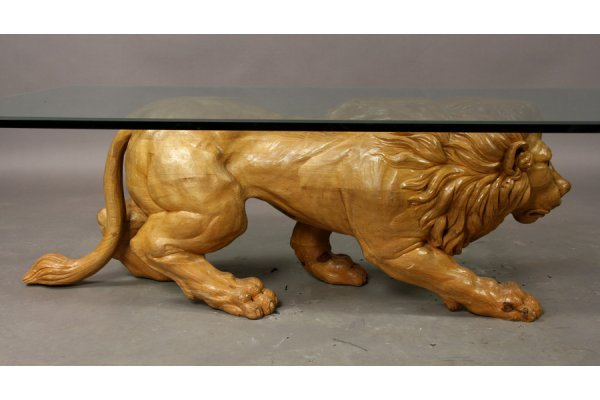 395: Carved wood lion coffee table - 5