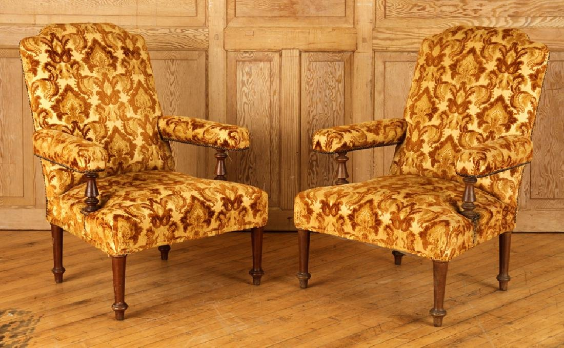 PAIR UPHOLSTERED NAPOLEON III STYLE ARM CHAIRS
