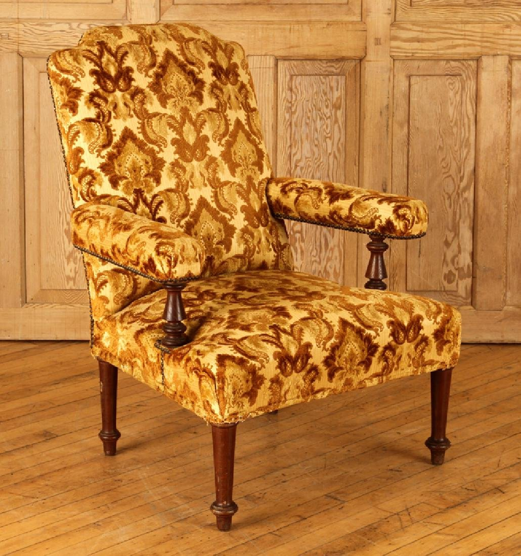 PAIR UPHOLSTERED NAPOLEON III STYLE ARM CHAIRS - 2