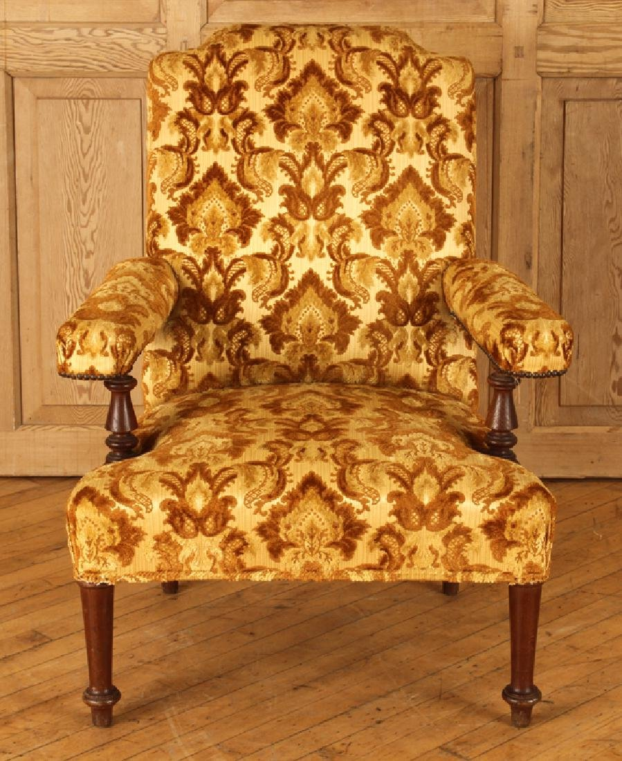 PAIR UPHOLSTERED NAPOLEON III STYLE ARM CHAIRS - 3