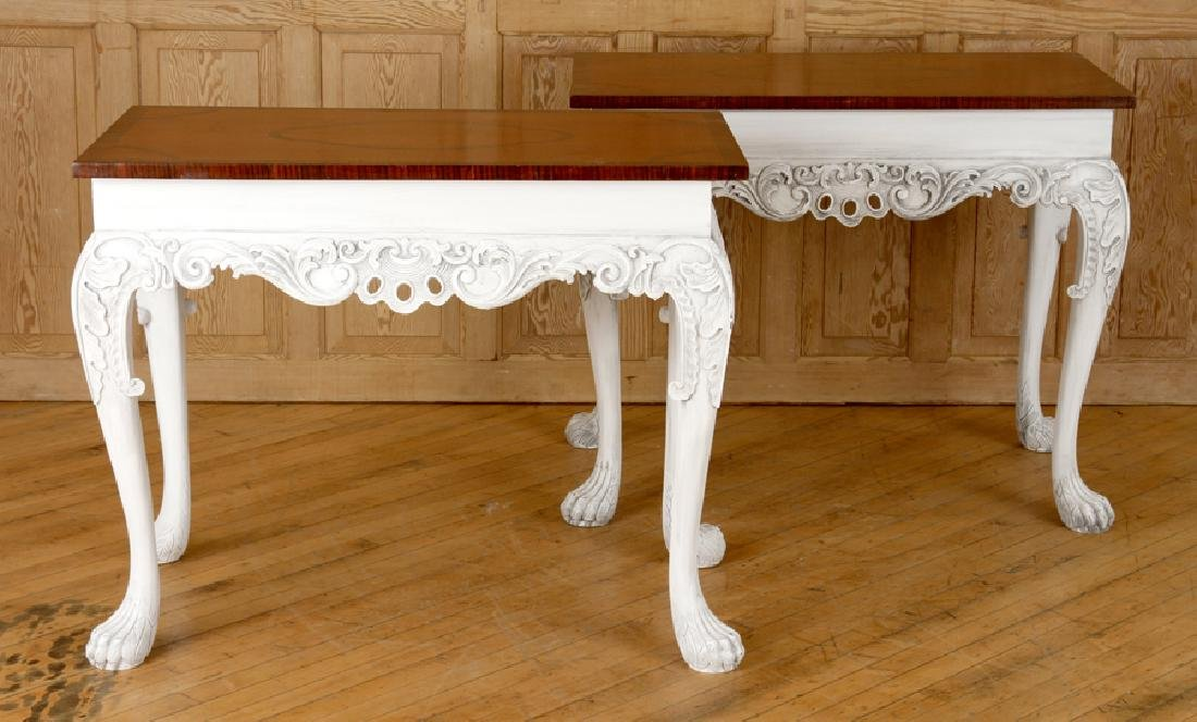 PAIR CARVED PAINTED CONSOLE TABLES PAW FEET