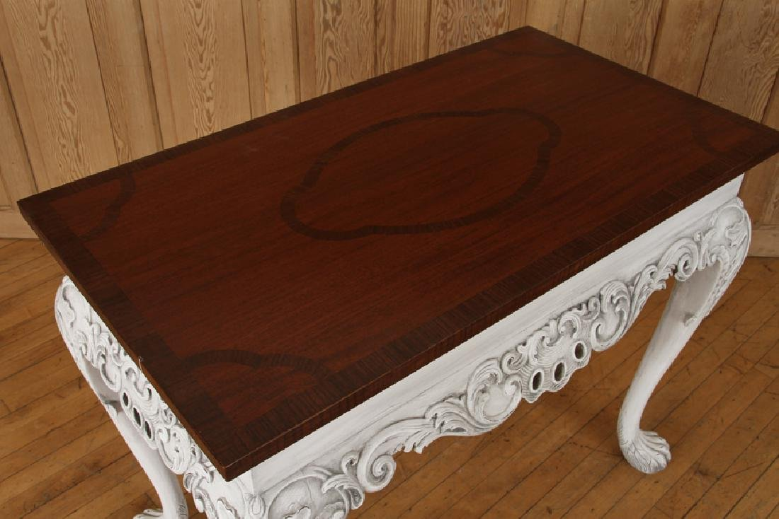 PAIR CARVED PAINTED CONSOLE TABLES PAW FEET - 3