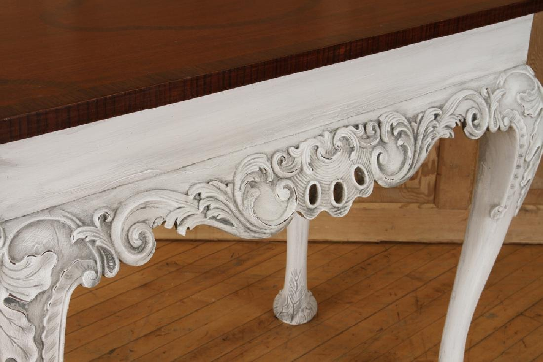 PAIR CARVED PAINTED CONSOLE TABLES PAW FEET - 4