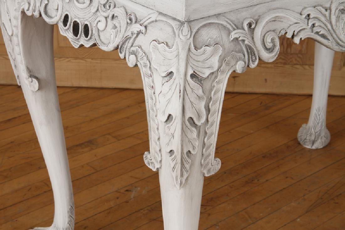 PAIR CARVED PAINTED CONSOLE TABLES PAW FEET - 5