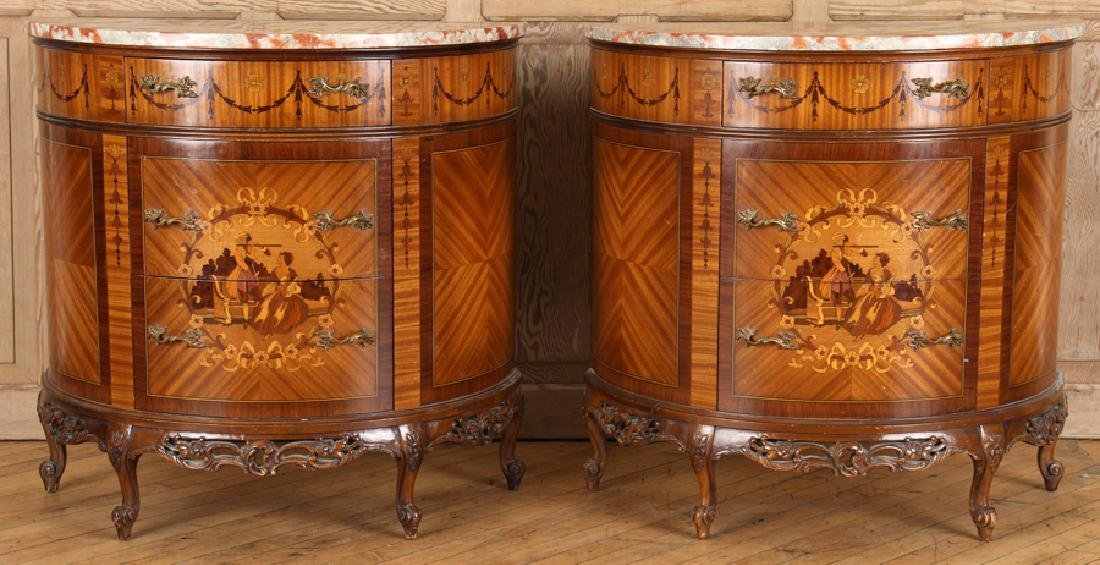 PAIR FRENCH MARBLE TOP DEMILUNE COMMODES