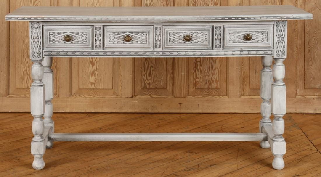 CARVED PAINTED CONSOLE TABLE H-FORM STRETCHER