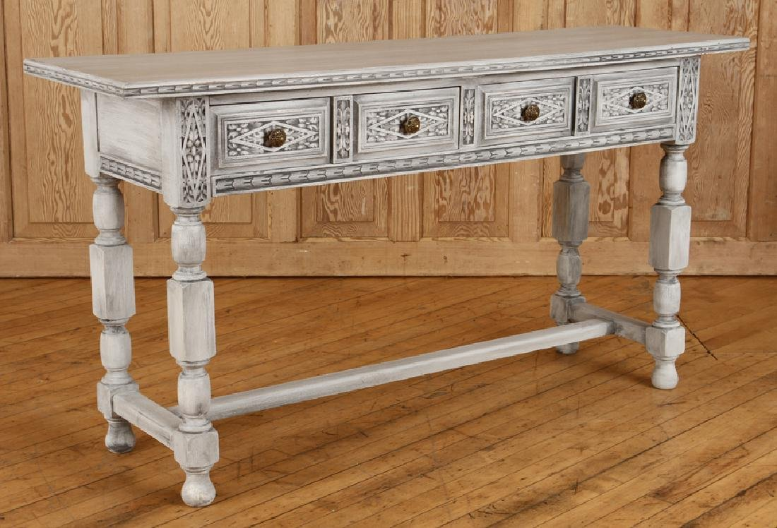 CARVED PAINTED CONSOLE TABLE H-FORM STRETCHER - 2