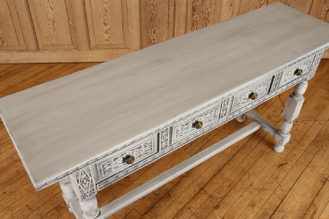 CARVED PAINTED CONSOLE TABLE H-FORM STRETCHER - 3