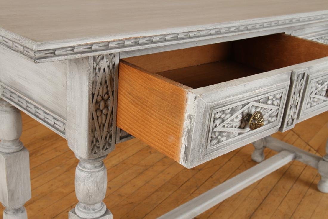 CARVED PAINTED CONSOLE TABLE H-FORM STRETCHER - 4