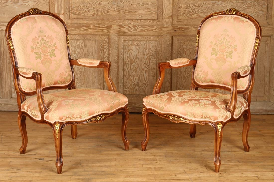 PAIR LOUIS XV STYLE UPHOLSTERED OPEN ARM CHAIRS