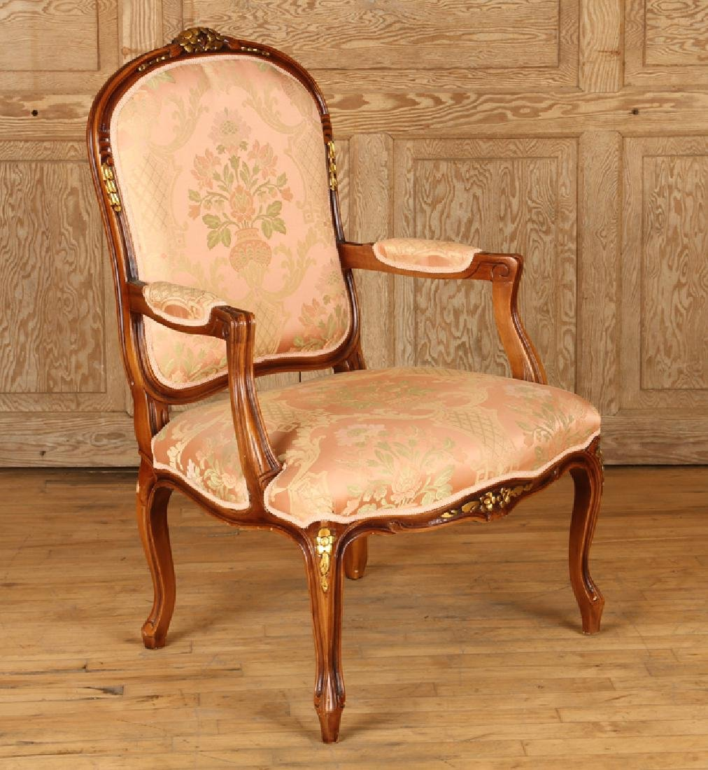 PAIR LOUIS XV STYLE UPHOLSTERED OPEN ARM CHAIRS - 2