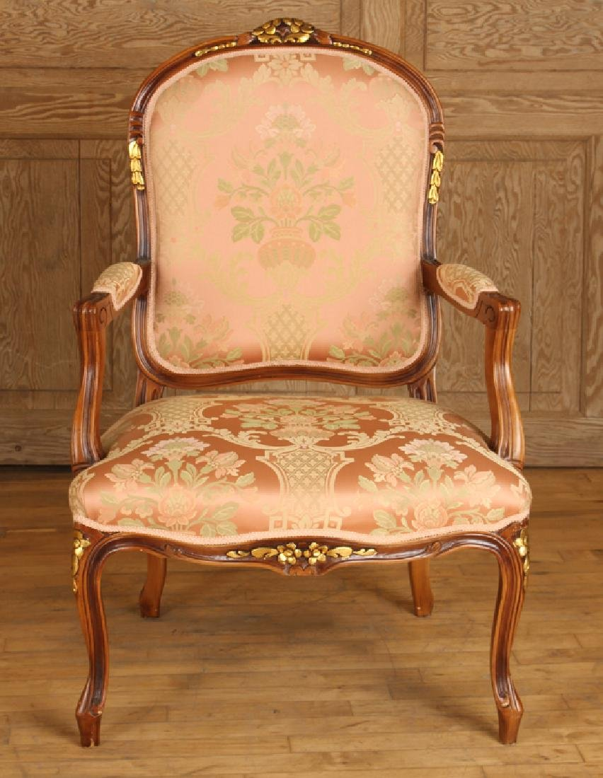 PAIR LOUIS XV STYLE UPHOLSTERED OPEN ARM CHAIRS - 3