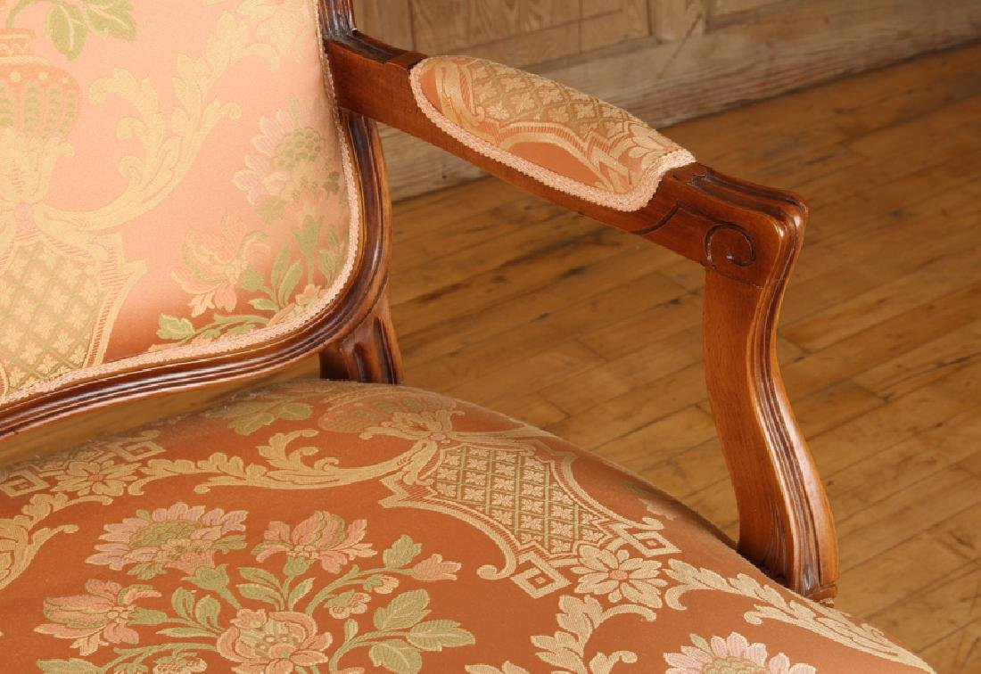 PAIR LOUIS XV STYLE UPHOLSTERED OPEN ARM CHAIRS - 5
