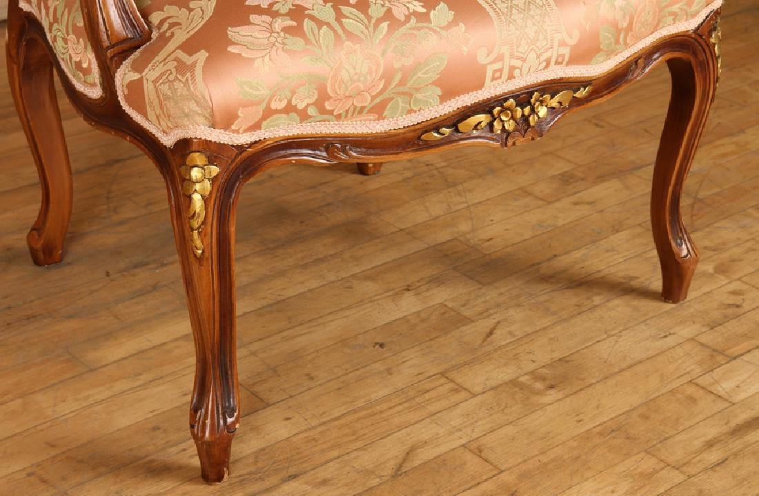 PAIR LOUIS XV STYLE UPHOLSTERED OPEN ARM CHAIRS - 6
