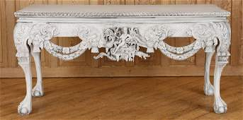 RELIEF CARVED MAHOGANY CHIPPENDALE STYLE CONSOLE