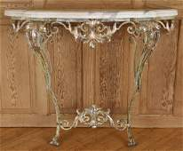 FRENCH WROUGHT IRON MARBLE TOP CONSOLE TABLE 1950