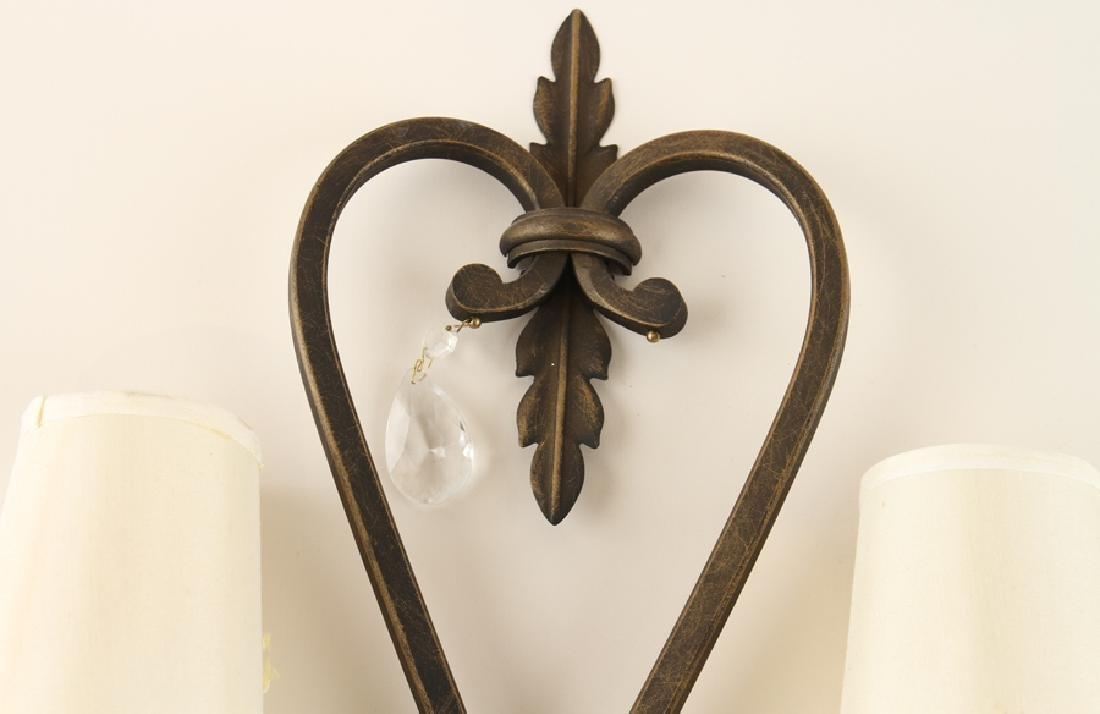 PAIR WROUGHT IRON TWO LIGHT WALL SCONCES - 3