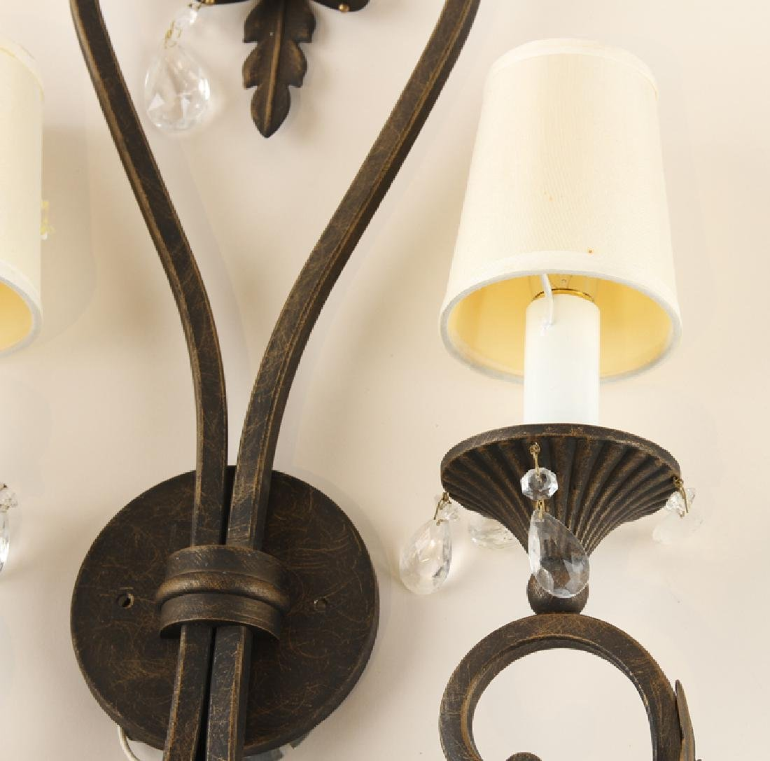 PAIR WROUGHT IRON TWO LIGHT WALL SCONCES - 4