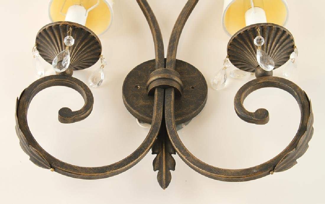 PAIR WROUGHT IRON TWO LIGHT WALL SCONCES - 5