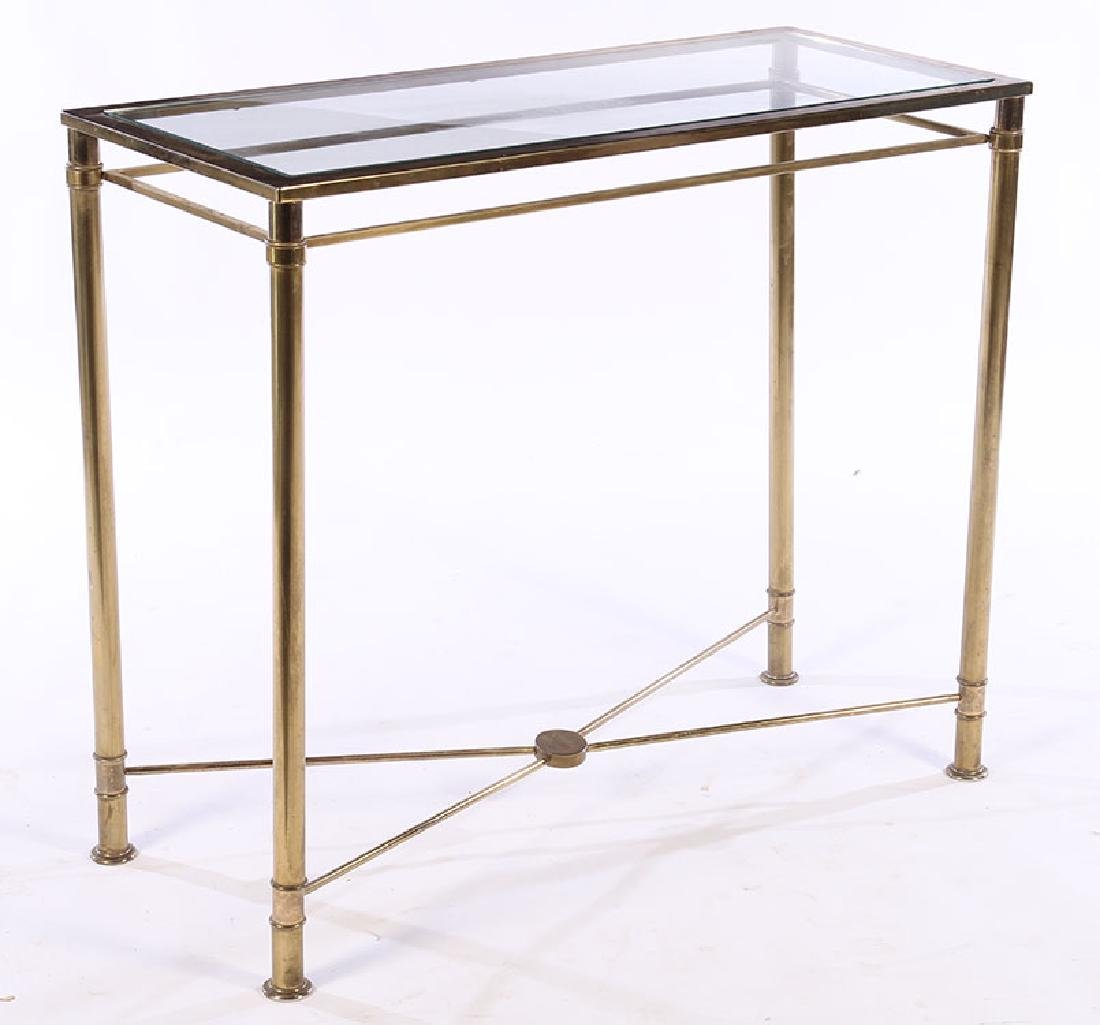 MODERN BRASS PLATED CONSOLE TABLE GLASS TOP 1970
