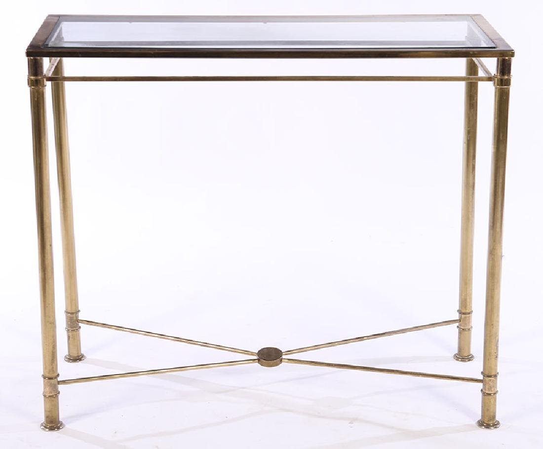 MODERN BRASS PLATED CONSOLE TABLE GLASS TOP 1970 - 2