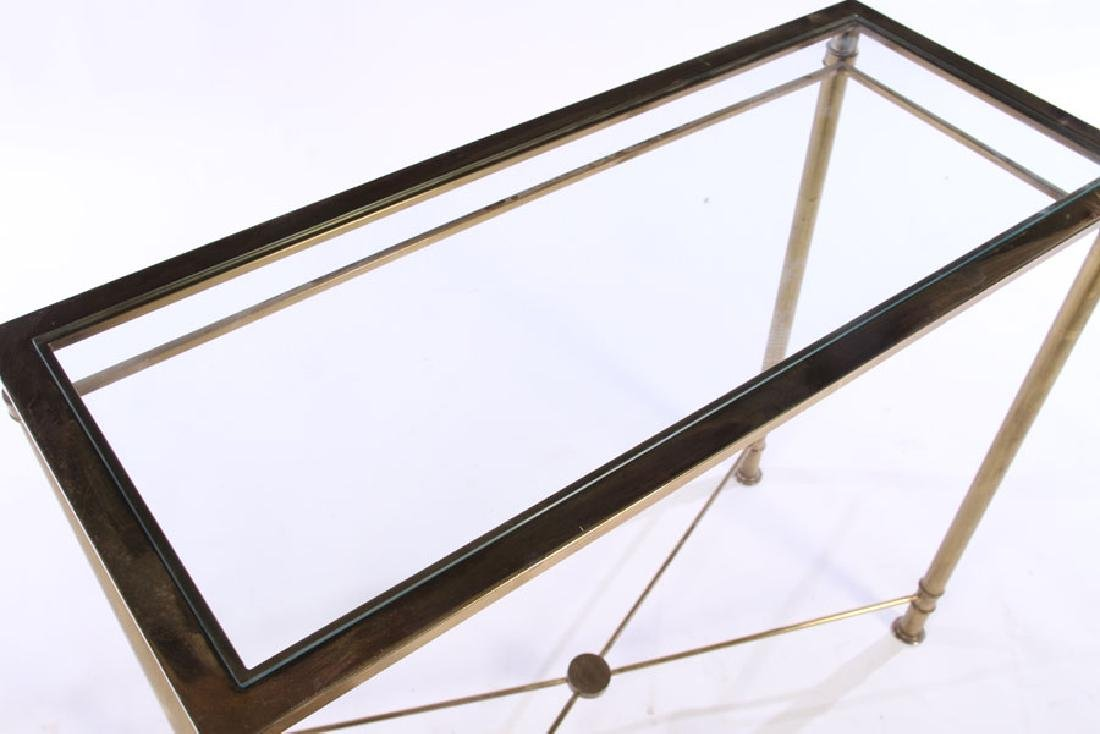 MODERN BRASS PLATED CONSOLE TABLE GLASS TOP 1970 - 3