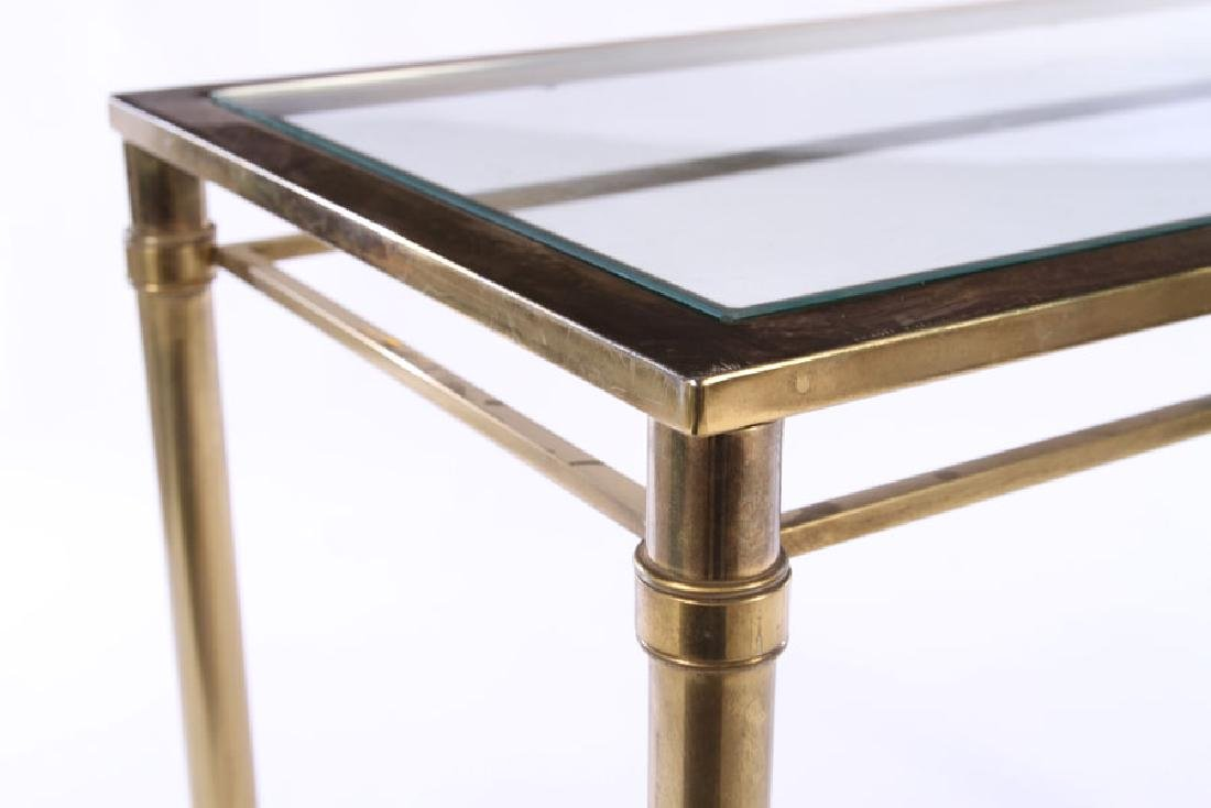 MODERN BRASS PLATED CONSOLE TABLE GLASS TOP 1970 - 4