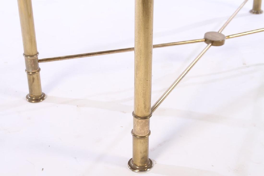 MODERN BRASS PLATED CONSOLE TABLE GLASS TOP 1970 - 5