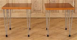 PAIR MID CENTURY MODERN END TABLES HAIR PIN LEGS