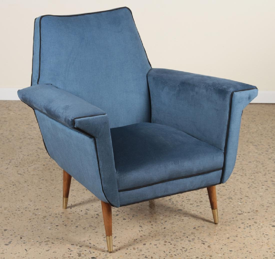 PAIR MID CENTURY MODERN TWO TONED CLUB CHAIRS - 2