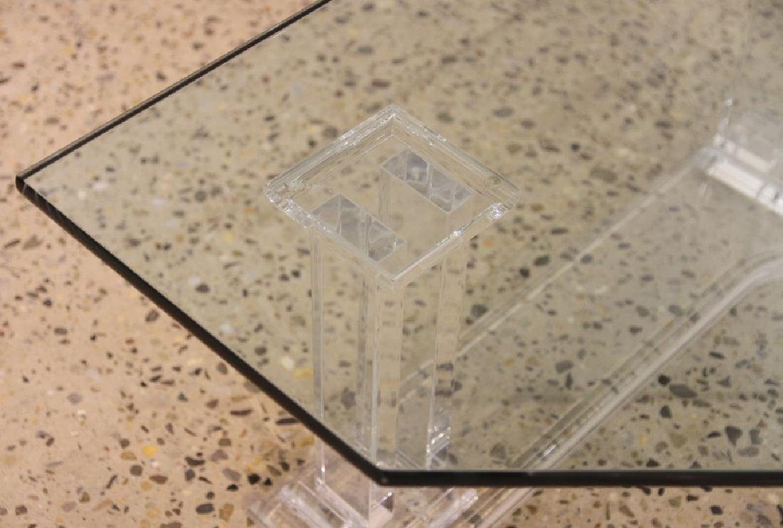 MID CENTURY MODERN LUCITE TABLE GLASS TOP C. 1960 - 3