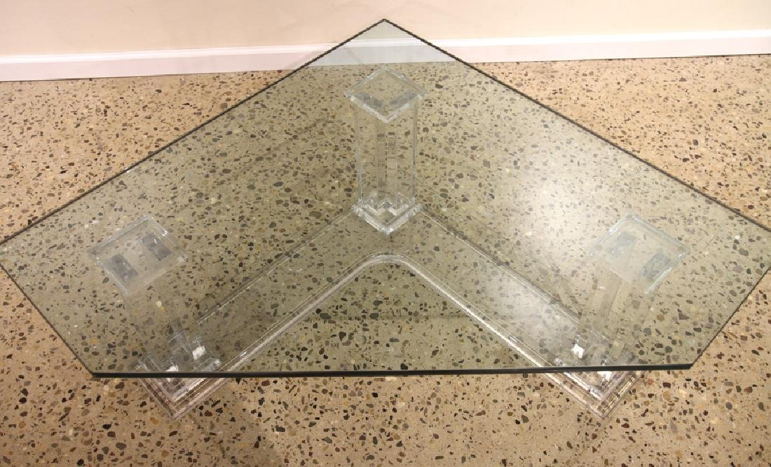 MID CENTURY MODERN LUCITE TABLE GLASS TOP C. 1960 - 4