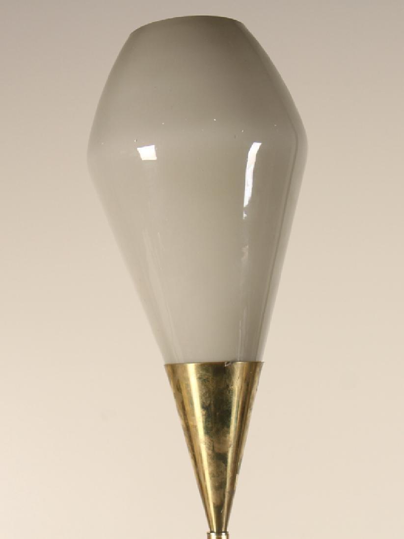 MID CENTURY MODERN ITALIAN GLASS BRASS FLOOR LAMP - 2
