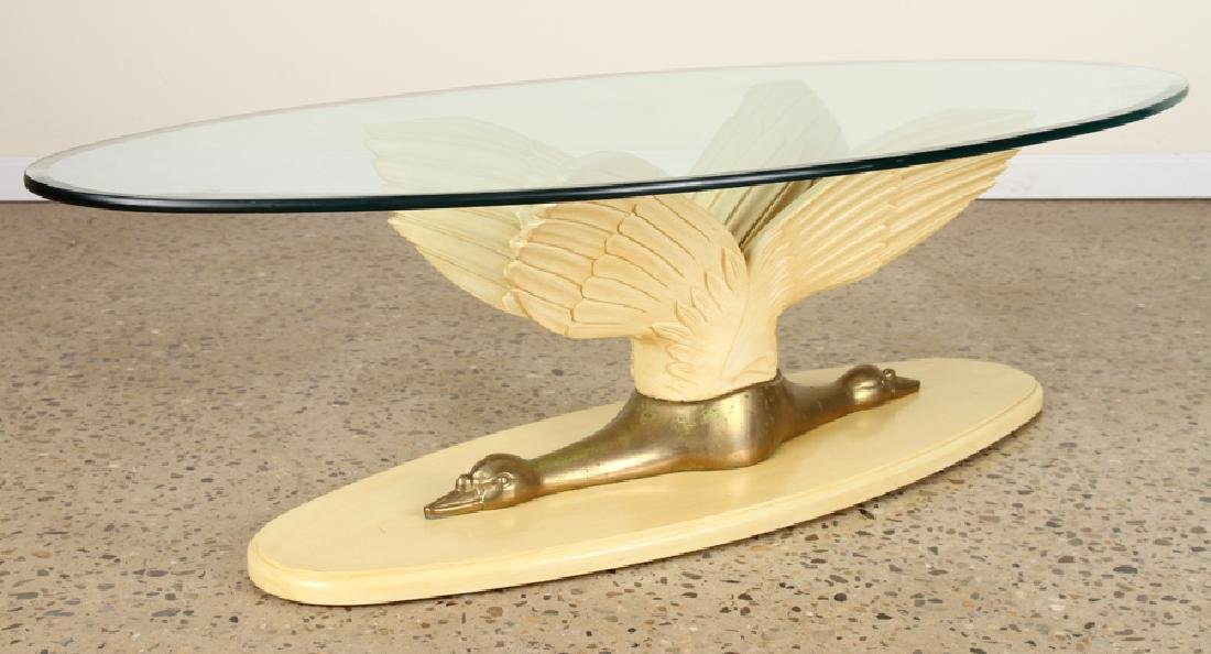 PAINTED WOOD BRONZE SWAN COFFEE TABLE C.1970