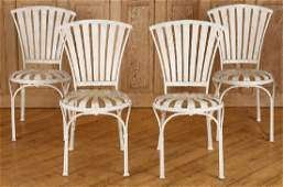 SET 4 WROUGHT IRON PAINTED GARDEN CHAIRS C.1950